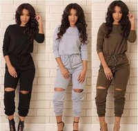 Wholesale Catsuits Hot Sexy - Hot Sale GOOD Fabric New Vestidos Fashion Sports Long Jumpsuit Sexy Women Rompers Catsuits Playsuits Ripped Pants hight quality free shippin