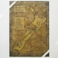 Wholesale New Zealand home of middle earth Old Map Vintage Paper Poster Wall Painting Home Decoration X38 CM PE12