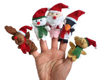 Wholesale Cartoon Christmas Santa Claus Finger Toys Puppet Plush Toy Snowman Bear Dolls For Kids Baby Children Gift set Free DHL Factory Price