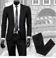 Wholesale New Slim Fit Mens Suit Fashion Button Notch Lapel Tuxedo Flat Front Pants Slim Style Suit