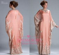 Wholesale Arabic Dubai kaftan Mother Of Bride Groom Dress Prom Dress Peach Coral Chiffon Lace Long Sleeves Lace Muslim Evening Gowns JQ3309