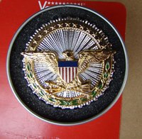 antique enamel box - The United States Department of defense service metal badges first chapter honor three layers of Enamel Gold Gift Box