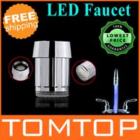 Wholesale 5 Blue LED Light Water Stream Faucet Tap ABS Round Connector Freeshipping Dropshipping order lt no track