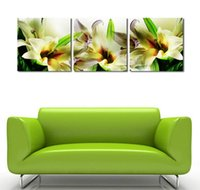 Cheap 3 Panle Decorative Painting White Fresh Lily Flower Oil Pictures for Bedroom Modern Wall Decor Printed Art Canvas Decoration