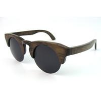 Real de bambu de madeira Sunglasses China Dark Brown Cor Metade Rim Eyeglass 2015 Estilo Retro CR39 Lens R026BA