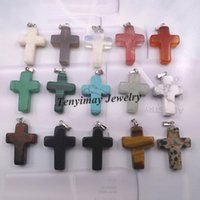 semi precious stone - Fashion Jewelry Pendants Mixed Semi precious Stone Cross Pendant For Necklace Real Natural Stone Pendant