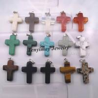Wholesale Fashion Jewelry Pendants Mixed Semi precious Stone Cross Pendant For Necklace Real Natural Stone Pendant