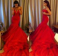Cheap 2015 New Arrival Red Prom Dresses 2015 Mermaid Sweetheart Kim Kardashian Evening Dresses Floor Length Organza Formal Party Dresses