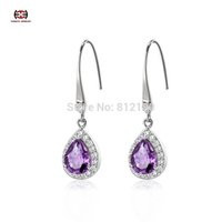 Wholesale Sterling Silver Natural Amethyst Drop Earrings lace Fine Jewelry GirlFriend Gift drop earrings