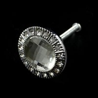 Wholesale 20Pieces White Silvery Diamond Sparkle Clear Crystal Glass Drawer Cabinet Door Handle Knobs Wholesales