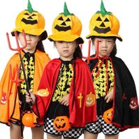 Wholesale 50PCS LJJH Halloween children clothing Boys and girls demon cape kids cosplay cape Halloween cape