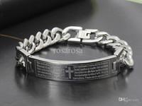 Wholesale Vintage cross bible charms bracelet L stainless steel men bangles chrismas gift