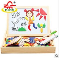 Wholesale Toy Multifunctional Magnetic Puzzle Wooden Baby Writing Board Oppssed Double side Blackboard Christmas Gift Drawing Board Fancy Jigsaw A1770