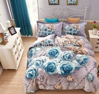 Wholesale D A of blue roses in bed Cotton Oil Painting Flowers Duvet Quilt covers Queen king bedding set pc set