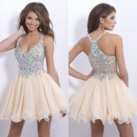 Ball Gown sexy mini short - 2015 Sheer Homecoming Dresses Sexy Deep V Neck Mini Chiffon Short Crystal Bodice Short Prom Dresses Cocktail Dresses