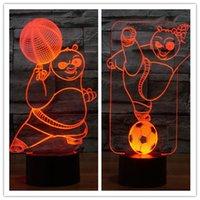 LED abs panda - 3D Visual LED Night Lights color change Cartoon Kung Fu Panda animal ABS Base and Acrylic Lighting Panel USB Power Supply Touch Button