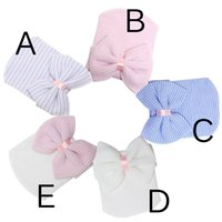 band beanie babies - PrettyBaby Lovely Baby Girls Infant Newborn Soft Hat Hospital Newborn Infant Beanie Cute Bow Striped Caps Hair Band Accessories in stock