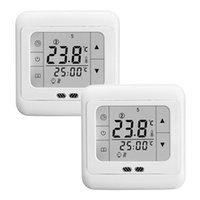 Wholesale 2PCS Weekly Programmable Touch Screen Floor Heating LCD Display Thermostat Room Temperature Controller Thermometer