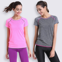 Wholesale 2016 Female Yoga Gym Workout Tees Summer Clothes T shirt Running Shirt Bodybuilding Clothing Women Fitness Sports Quick Dry Tops