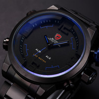 Wholesale SHARK Analog Digital LED Display Stainless Steel Masculino Relojes Black Blue Date Day Alarm Men s Outdoor Sport Quartz Wrist Watch SH106
