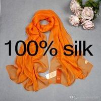plain silk scarves - High quality mulberry silk real silk long scarf georgette plain scarves shawls for women cm