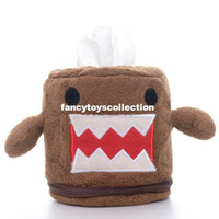 Wholesale Cute Brown DOMO KUN Plush Home Desk Top Round Tissue Paper Boxes Covers New Creative Home Organizer Tissue Boxes Covers