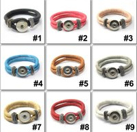 Wholesale New colors Diy Snap Button Charm Leather Bracelet Fit for mm Ginger Snaps Button Clasp Jewelry