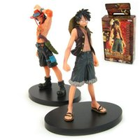 free shipping anime - 2015 New arrive Japan anime one piece Monkey D Luffy Portagas D Ace pvc figure set toys gifts