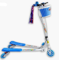 Wholesale New Trikke BLUE Balance Wheeled Carving Scooter Children breaststroke double brake flash pulley Aluminium alloy Pedal scooter