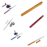 Cheap Hot Sale 6 Colors Mini Portable Aluminum Pocket Pen Fishing Rod Pole + Reel Baitcasting Rods Free Shipping.