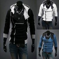 all'ingrosso felpe di design moda maschile-Moda Plus Size M-XXXXL NUOVI uomini caldi Slim cappello design personalizzato magliette felpate del rivestimento Maglione Assassins Creed Cappotto di trasporto