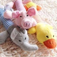 all'ingrosso toys for pet-Novità calda di vendita di animali del cane cucciolo peluche suono Chew Squeaky Pig Elefante Anatra Toys trasporto di goccia PET-0010