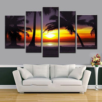 abstract beach paintings - Decorative picture Handmade Oil Painting On Canvas Living Room Home Decor Wall Paintings coco palm sunset of beach Large size t5p102