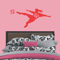 adhesive vinyl numbers - Personalized Girls Name with Number Football Soccer Ball Vinyl Wall Decals Art Wall Stickers for Kids Rooms Decoration