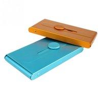 Wholesale New Blue Yellow Card Holder Aluminum Slide Business Card Credit Card Case Holder Pocket Color
