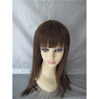 Wholesale Virgin Hair Wig Making Supplies Dark Brown Straight Indian Machine Wigs Real Human Long Hair Wig for Lady