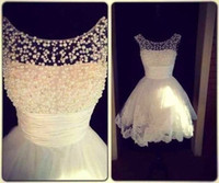 sexy mini wedding dress - Custom Made Reception Dress White Scoop A Line Short Sexy Lace Applique Pearls Beads Wedding Dress Bridal Gown Plus Size Wedding Dress