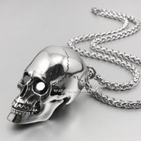 Wholesale Huge Heavy L Stainless Steel Skull Mens Biker Rocker Pendant Openable S020 Necklace inch