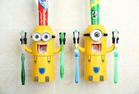 Wholesale New Cute Despicable Me Minions Design Set Cartoon Toothbrush Holder Automatic Toothpaste Dispenser with Brush Cup