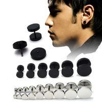 black stainless steel studs - Man Barbell Punk Gothic Stainless Steel Ear Studs Earrings Black Siver