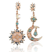 Wholesale Summer Style Hot New Gold Star Sun Moon Crystal Rhinestone Stud Dangle Pretty Funky Earrings