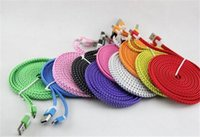 Wholesale Flat Braided USB Charger Sync Data Cable M FT Hemp Rope Cords for Galaxy S5 S4 S3 Note Xperia Phone Cell Phone