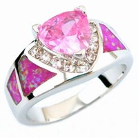 Wholesale Sterling Silver Mexico Rings - fire opal rings pink colour fashion mexico opal rings OR026A-1