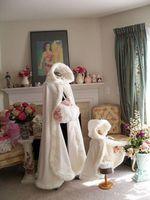 apricot ribbon - Cheap Plus Size Winter Bridal Cape Fur Wedding Cloaks Flower Girls Cloak Hooded Perfect For Winter Wedding Bridal Cloaks