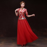 traditional chinese wedding dress - robe chinoise traditional femme chinese wedding dress Qipao National Costume Women Dress Chinese Style Dress QP003