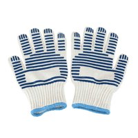 Wholesale 250 Degree Heat Proof Resistant Cooking Baking Gloves Striped Pair Microwave Oven Gloves for Right Left Hand Protective Mitts