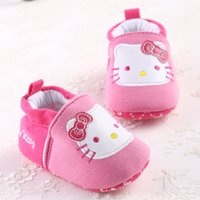Wholesale Sweet Cartoon Cotton Baby Kids Soft Soled Anti Slip Prewalker Shoes Infant Toddler Baby Girl Princess Hello Kitty Shoes Footwear T