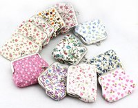 Wholesale Cotton cloth Small broken flower printed hasp coin purses Girl mini wallet women change purse key bags gift wedding candy bags