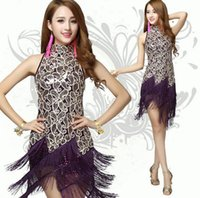 Wholesale Sequins Tassels Latin Dance Dress Lady Singer Modern Dance Dress Women Stage Performance Costume
