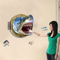 applying wall stickers - PVC Removable Wall Sticker Sheet Decal Room decor Wall Sticker Vinyl Art D Ocean Shark Porthole Views Apply to Anywhere You Want
